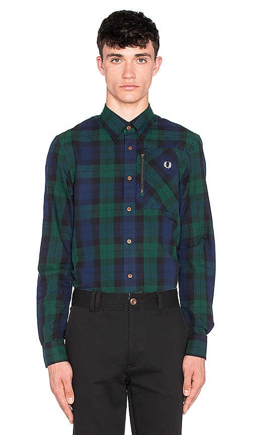 Fred Perry Zip Pocket Black Watch Shirt in Navy