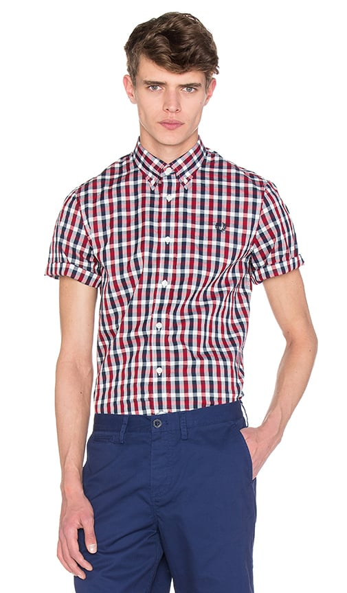 Fred Perry Herringbone Gingham Shirt in Deep Red
