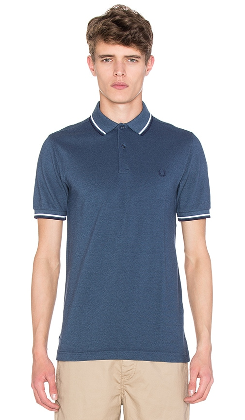 894b6cafa Fred Perry Twin Tipped Polo in Lake Oxford & White & Carbon Blue ...