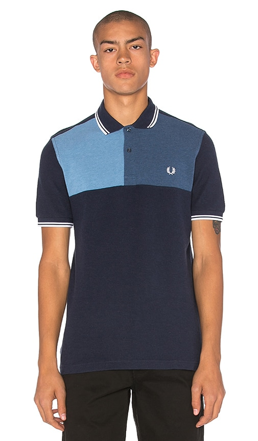 Fred Perry Blue Colour Block Chest Polo in Blue Marl