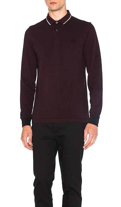 Fred Perry Long Sleeve Twin Tipped Polo in Burgundy