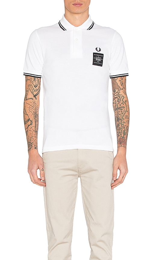 Fred Perry x Art Comes First Printed Twin Tipped Polo in White