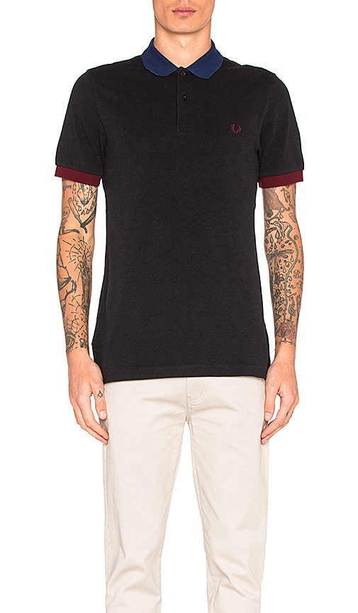 Fred Perry Colour Block Pique Polo in Black