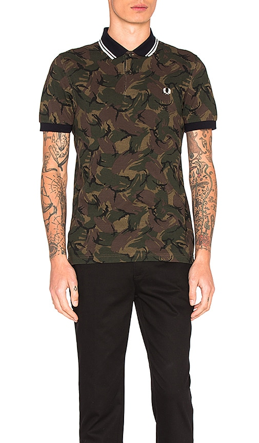 Fred Perry Camoflauge Pique Polo in Olive