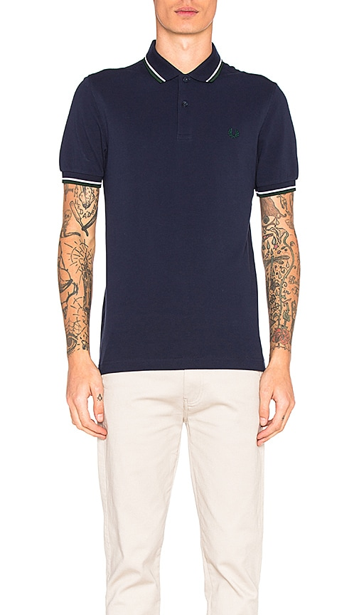 Fred Perry Twin Tipped Fred Perry Polo in Navy