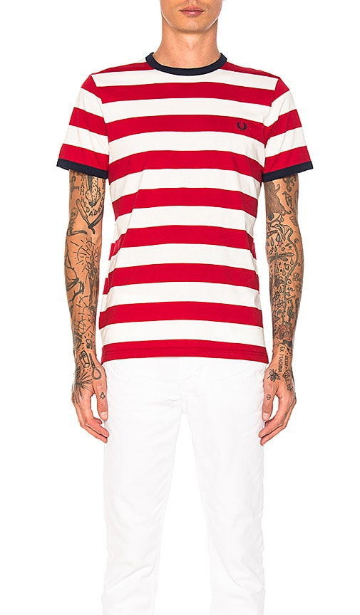 Fred Perry Striped Ringer Tee in Red