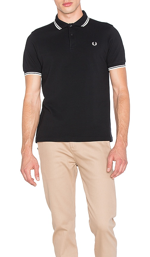 Fred Perry Slim Fit Twin Tipped Polo in Black