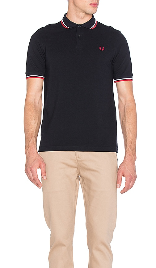 Fred Perry Slim Fit Twin Tipped Polo in Navy