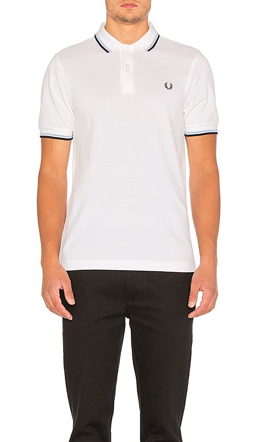 Fred Perry Twin Tipped Slim Fit Polo in White