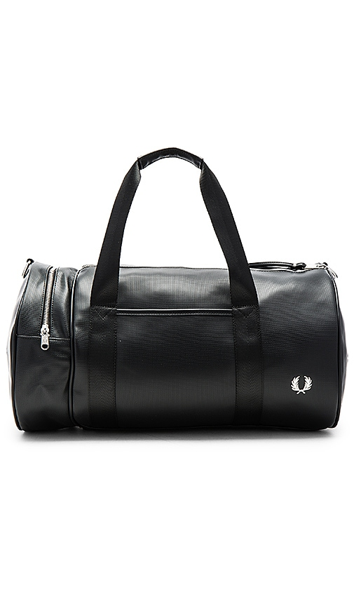 Fred Perry Pique Textured Barrel Bag in Black