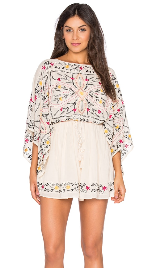 Free People Frida Embroidered Dress in Beige
