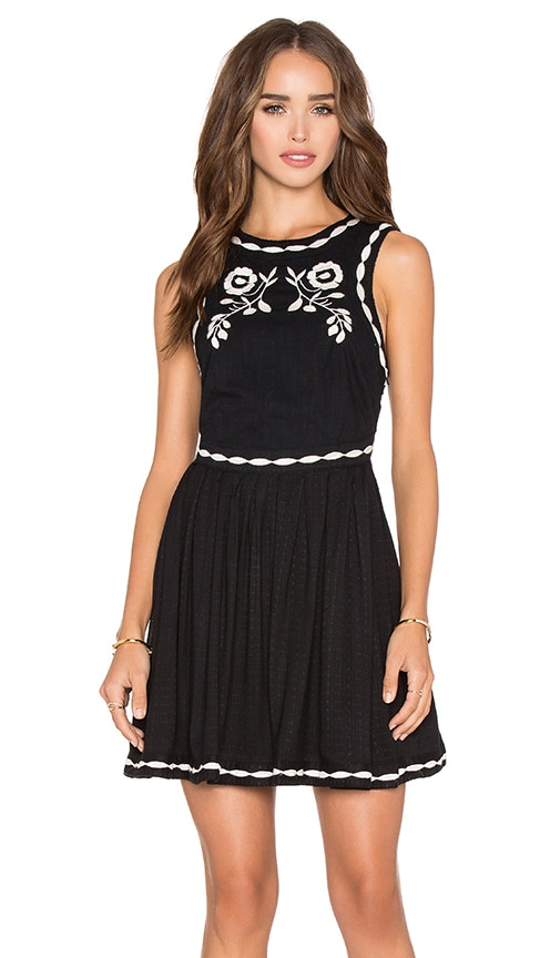 Free People Delightful Birds of Feather Dress in Black & White