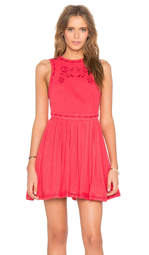 Free People Delightful Birds of Feather Dress in Red