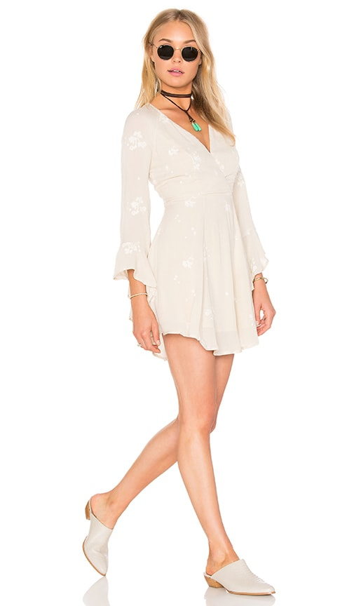 Free People Jasmine Embroidered Dress in Beige