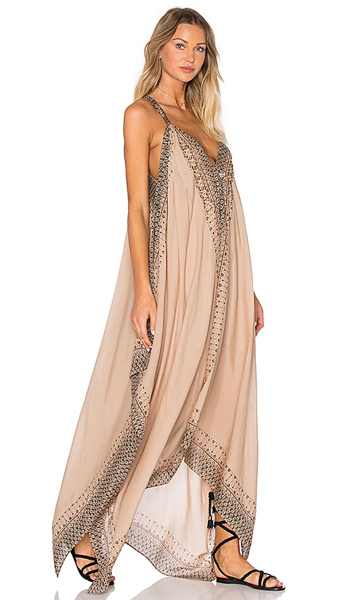 Free People Merida Printed Maxi Dress in Tan