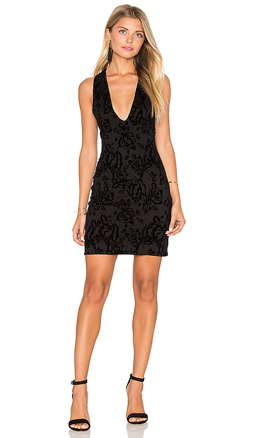 Free People Velvet Bodycon Dress in Black