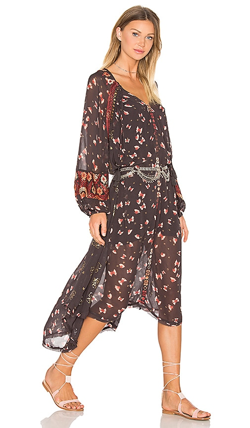 Free People Viceroy Printed Dress in Black Combo