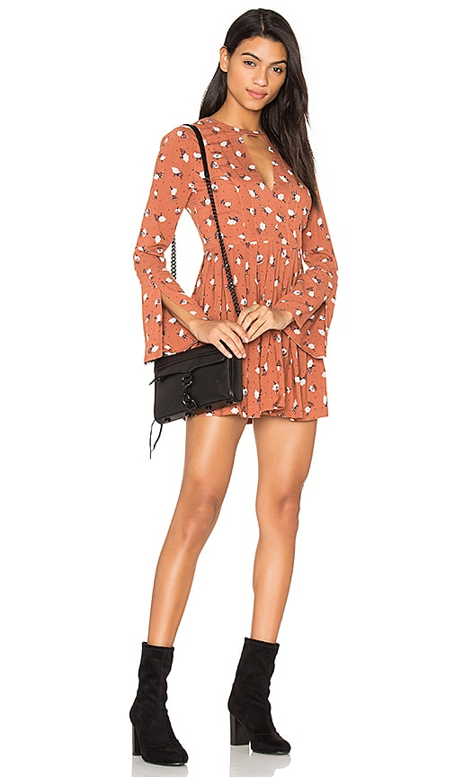 Free People Tegan Printed Dress in Orange