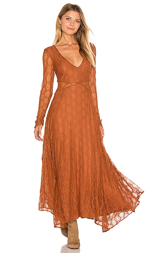 Free People Guinevere Lace Dress in Burnt Orange