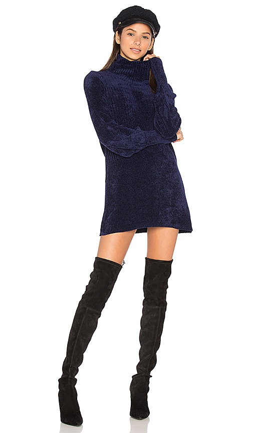 Free People New Moon Chenille Tunic Sweater in Navy