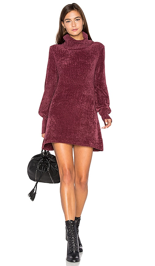 Free People New Moon Chenille Tunic Sweater in Rose