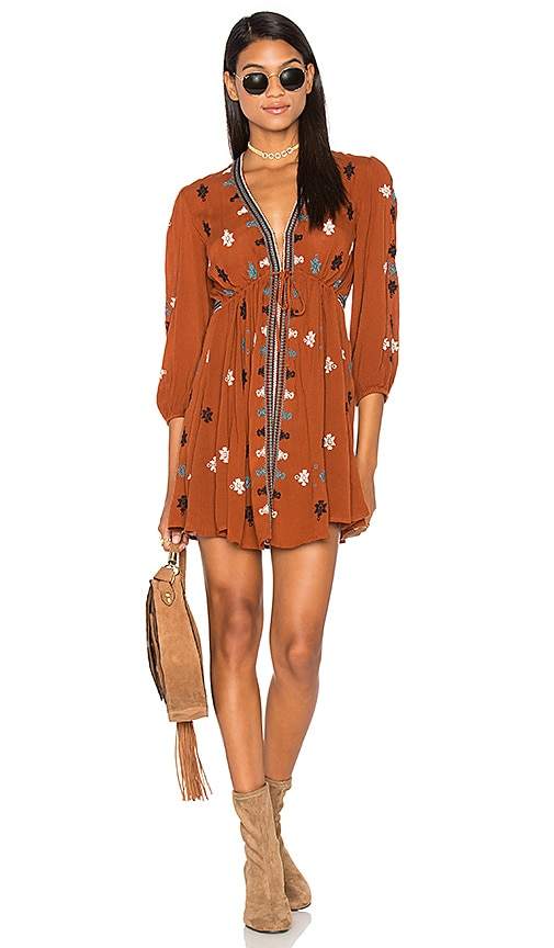 Free People Star Gazzer Embroidered Dress in Rust