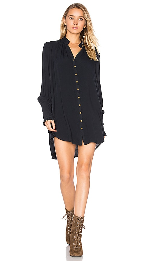 Free People Lieutenant Shirt Dress in Navy