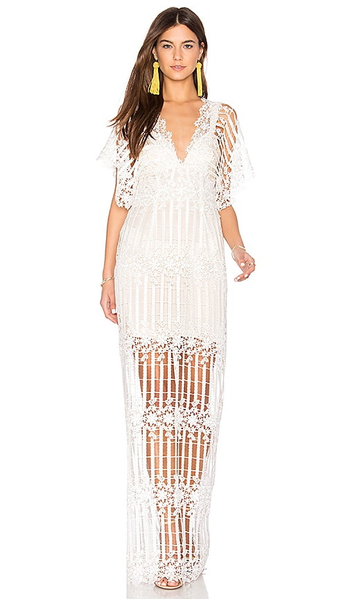 Free People Night Whispers Lace Maxi Dress in White