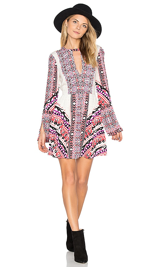 Free People Tegan Boarder Printed Mini Dress in White