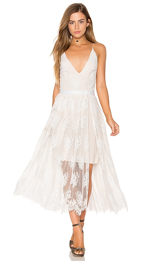 Free People Matchpoint Midi Lace Dress in White