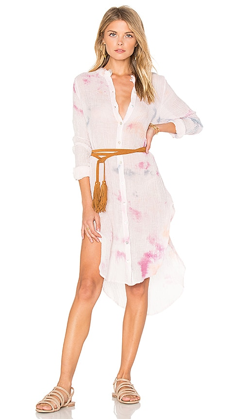 Free People Happiest Morning Button Down Dress in Pink