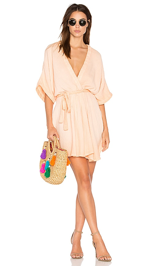 Free People Ripple Mini Dress in Peach
