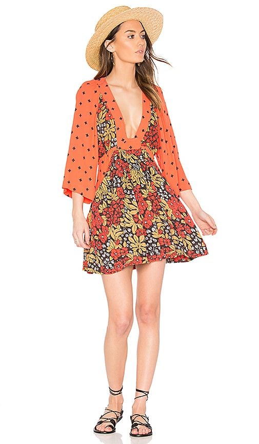 Free People Talulla Printed Mini Dress in Orange