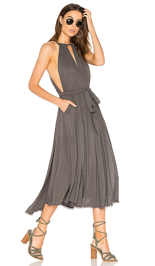 Free People Spring Love Midi Dress in Gray