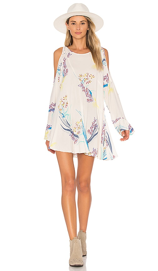 Free People Clear Skies Printed Tunic in Beige