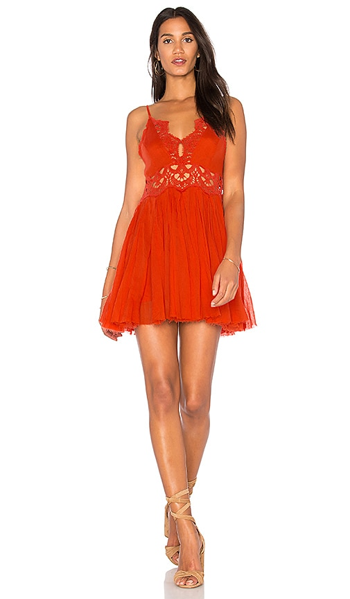 Free People Ilektra Mini Dress in Orange