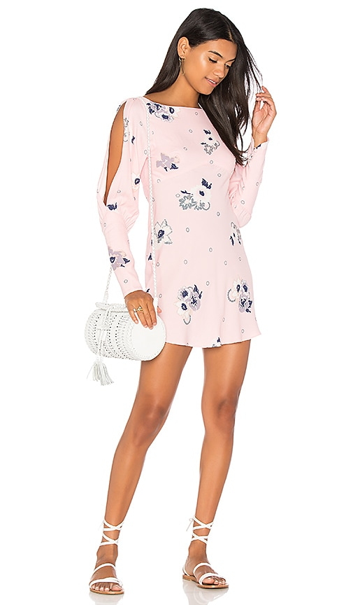 Free People Sunshadows Mini Dress in Pink