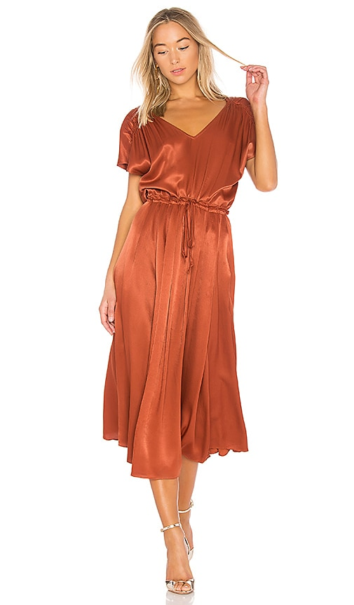 Free People Love and Feeling Midi Dress in Metallic Bronze