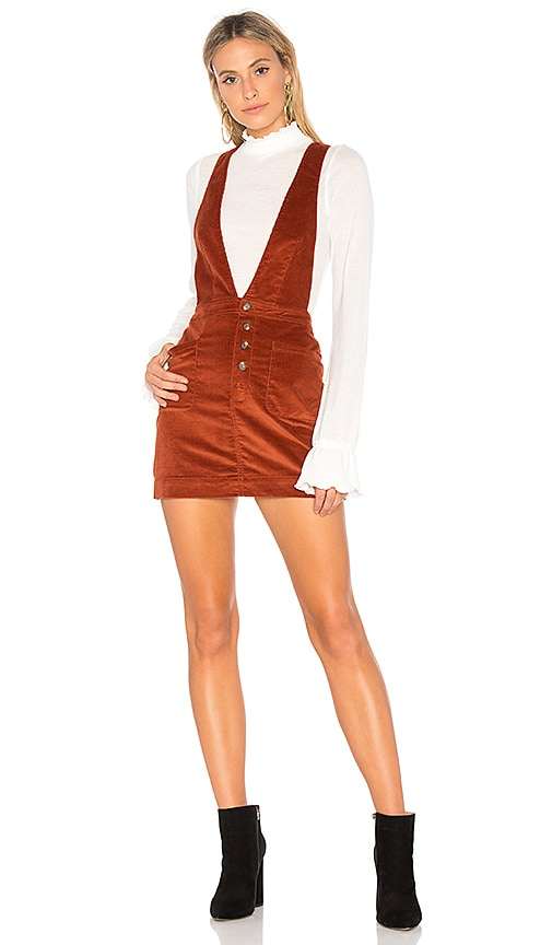 Free People Old School Love Overall Dress in Burnt Orange