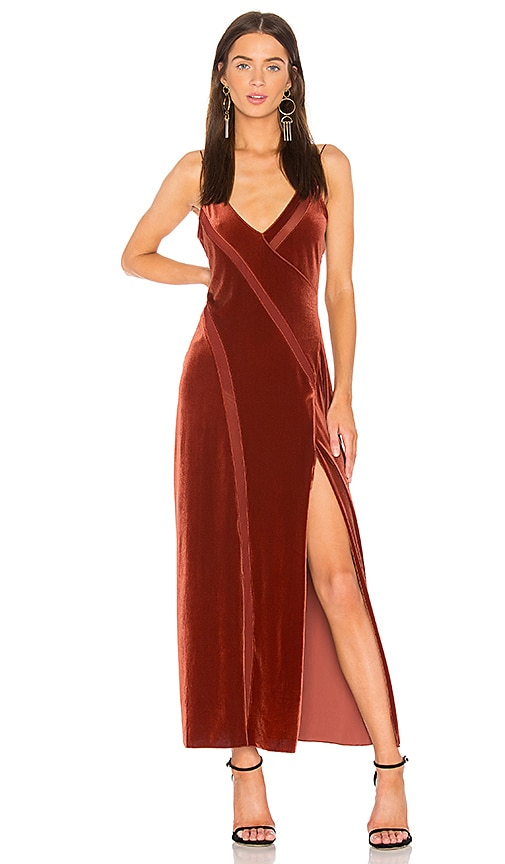 Spliced Velvet Maxi Dress in Burnt Orange. - size M (also in L,S) Free People