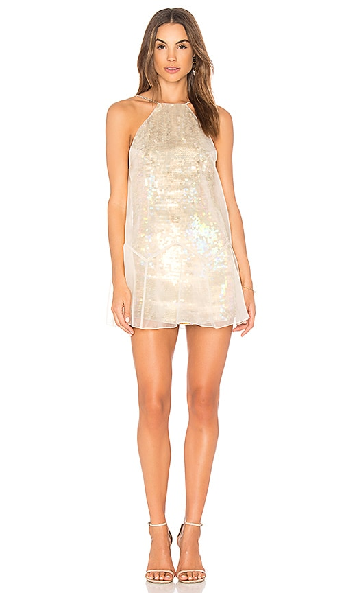Free People Ghost Mini Dress in Metallic Gold