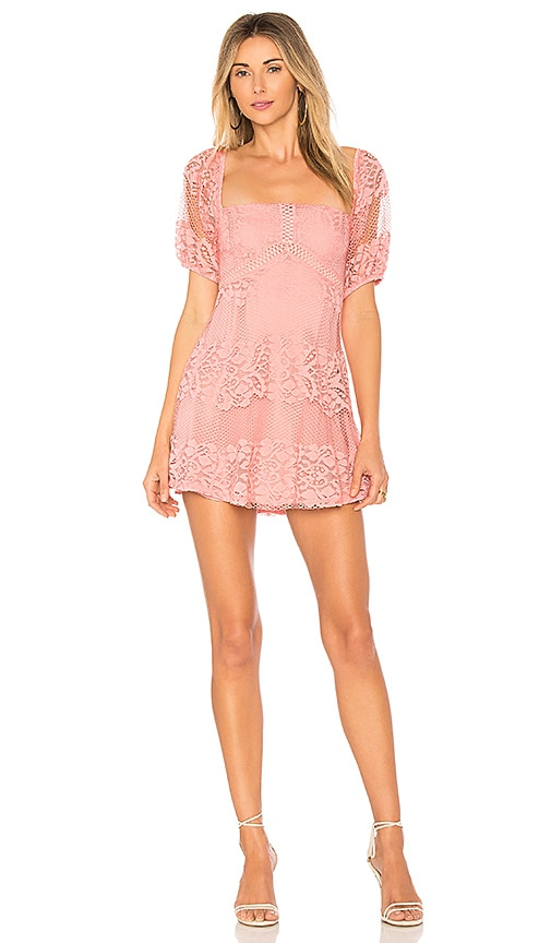 Free People Be Your Baby Lace Mini Dress in Pink