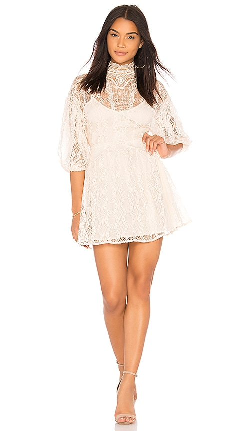 Free People Bittersweet Mini Dress in Beige