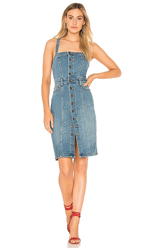 Free People Button Front Denim Jumper in Blue