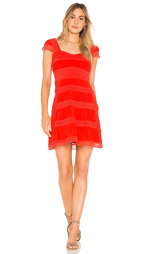 Free People Alicia Lace Mini Dress in Red