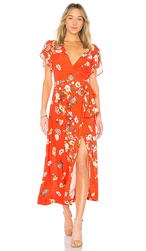 Free People Gorgeous Jess Wrap Dress in Red