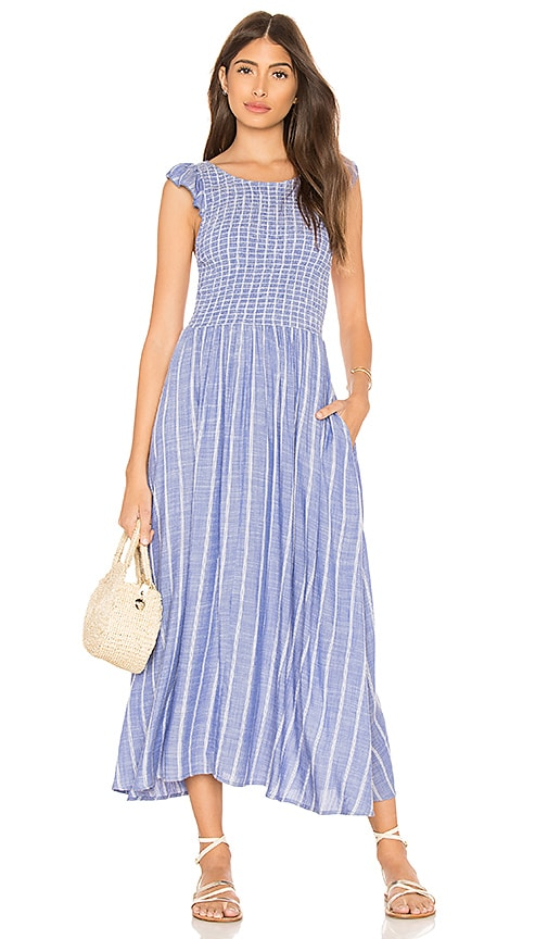 classic on feet shots of the sale of shoes Free People Chambray Butterflies Midi Dress in Blue | REVOLVE