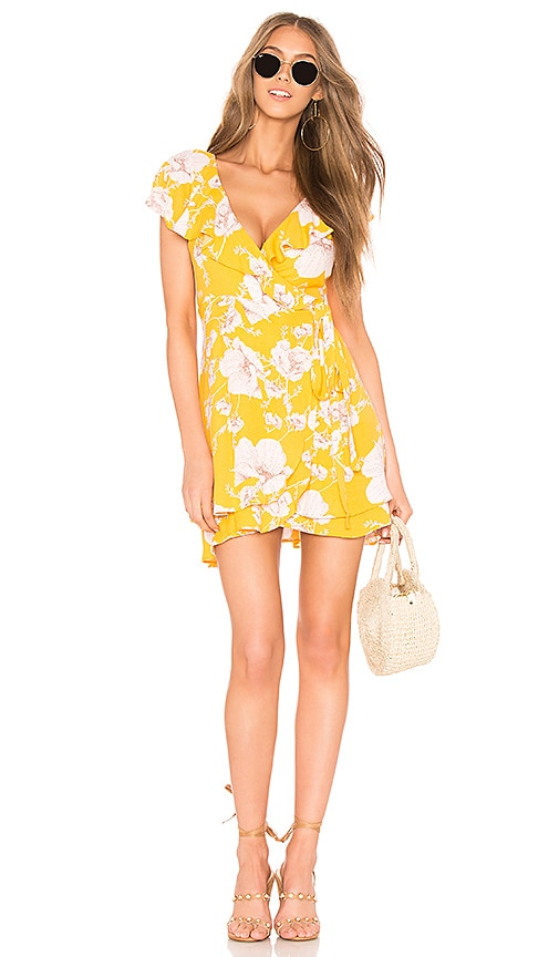Free People French Quarter Printed Mini Dress in Yellow