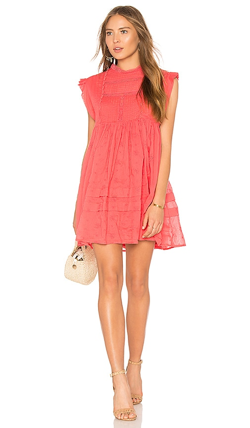 Free People Nobody Like You Embroidered Mini Dress in Coral