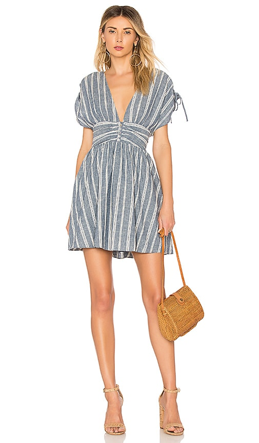 Free People Roll The Dice Mini Dress in Blue